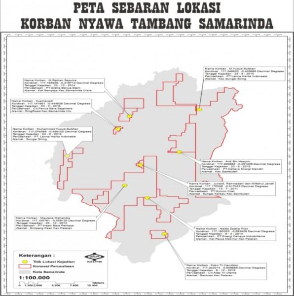 Peta sebaran korban lubang tambang Samarinda